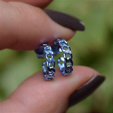 Brinco argolinha corrente azul semijoia