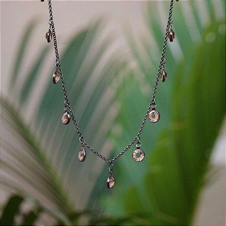 Colar choker cristais topázio ródio negro semijoia