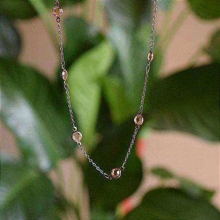 Colar corrente cristais topázio ródio negro semijoia