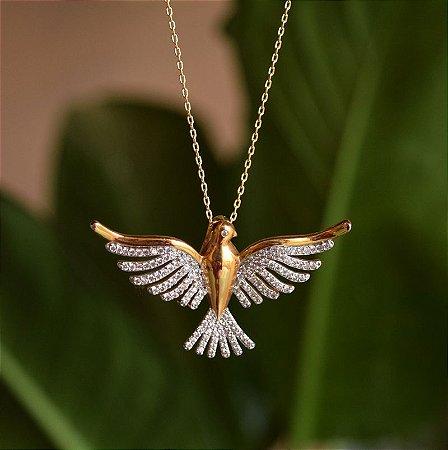 Colar Espírito Santo zircônia ouro semijoia