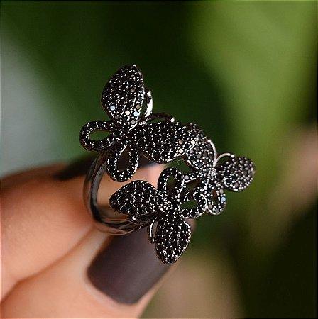 Anel borboletas zircônia black ródio negro semijoia