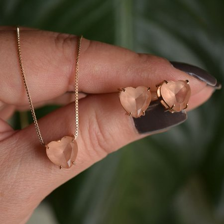 Colar e brinco coração cristal morganita ouro semijoia