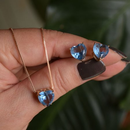 Colar e brinco coração cristal fusion azul ouro semijoia