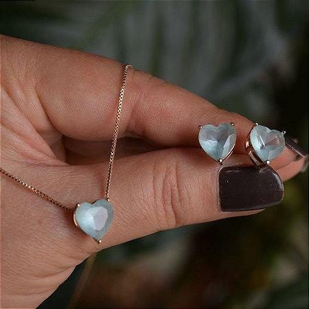 Colar e brinco coração cristal turmalina azul claro ouro semijoia