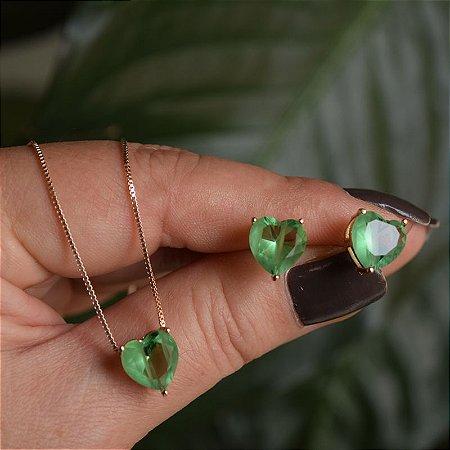 Colar e brinco coração cristal fusion verde ouro semijoia