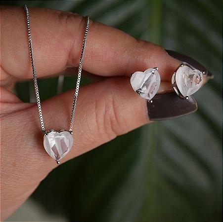 Colar e brinco coração cristal fusion branca ródio semijoia