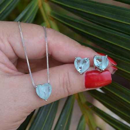 Colar e brinco coração cristal turmalina azul claro ródio semijoia