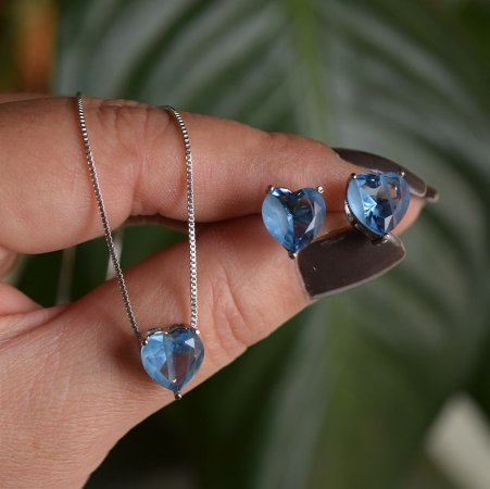Colar e brinco coração cristal fusion azul ródio semijoia