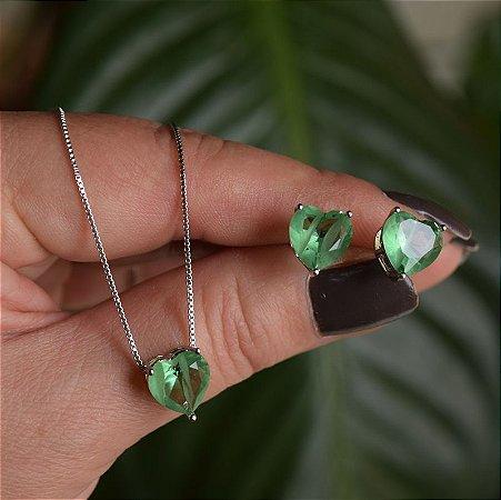 Colar e brinco coração cristal fusion verde ródio semijoia