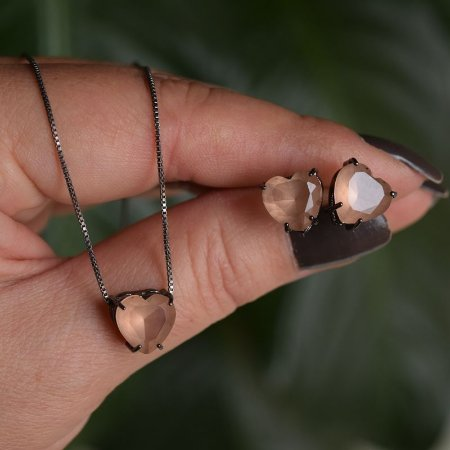 Colar e brinco coração cristal morganita ródio negro semijoia