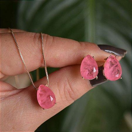 Colar e brinco gota cristal fusion rosa ouro semijoia