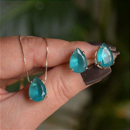 Colar e brinco gota cristal fusion turmalina azul ouro semijoia
