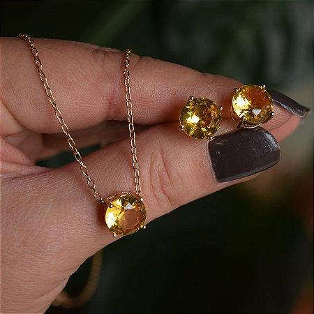 Colar e brinco cristal redondo amarelo ouro semijoia