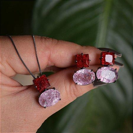 Colar e brinco cristais vermelho e rosa ródio negro semijoia