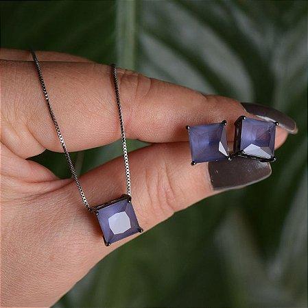 Colar e brinco quadrado cristal lilás ródio negro semijoia