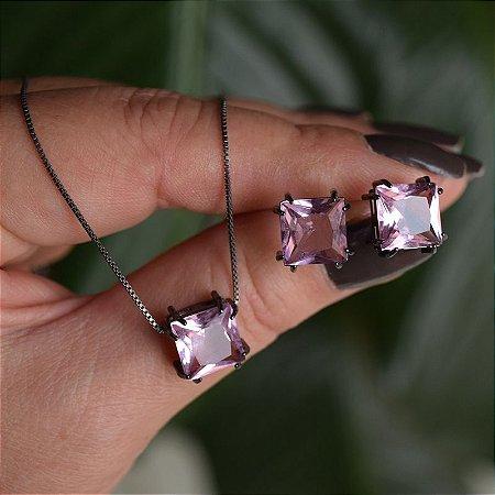 Colar e brinco quadrado cristal rosa ródio negro semijoia