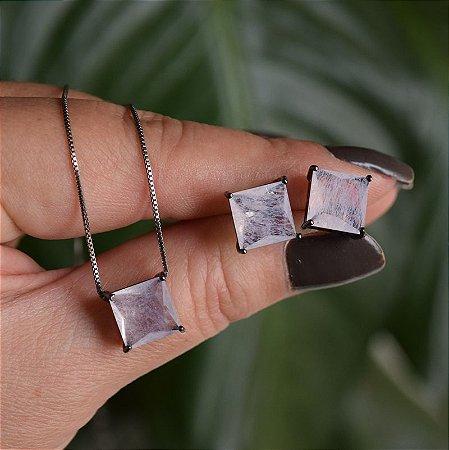 Colar e brinco quadrado cristal fusion branco ródio negro semijoia