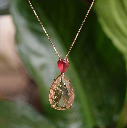 Colar gota cristais fusion rubi e morganita ouro semijoia
