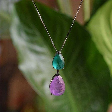 Colar gota cristal turmalina verde e roxo ródio negro semijoia