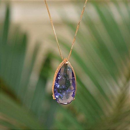 Colar gota cristal fusion lilás ouro semijoia