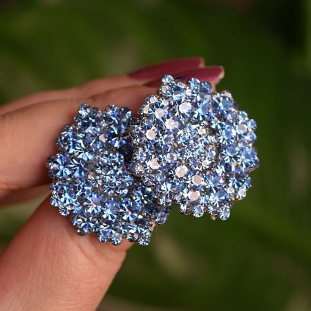 Brinco Leticia Sarabia médio cristal aquamarine