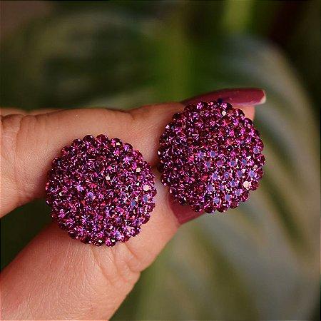 Brinco botão g Leticia Sarabia cristal pink