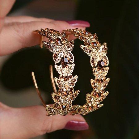 Brinco argola Leticia Sarabia borboleta mix dourado