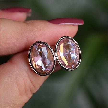 Brinco oval Leticia Sarabia cristal rosa