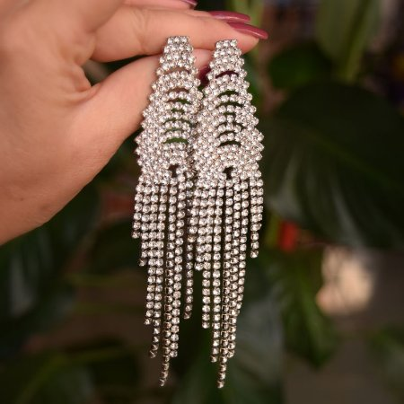 Maxi brinco leticia sarabia cristal prateado