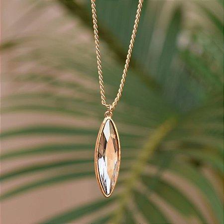 Colar longo Leticia Sarabia cristal dourado