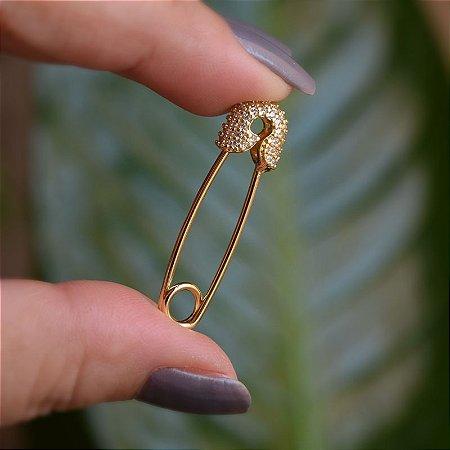 Pingente alfinete zircônia ouro semijoia
