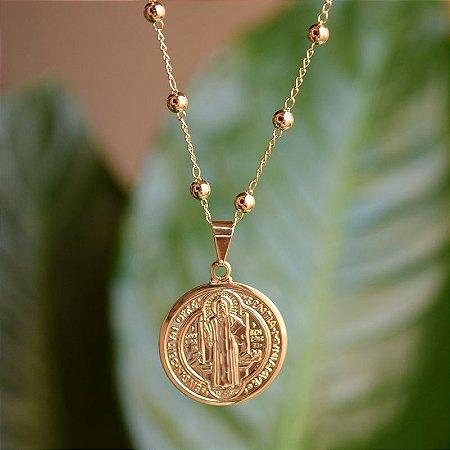 Colar medalha São Bento ouro semijoia