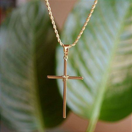 Colar crucifixo ouro semijoia