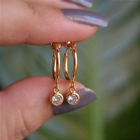 Brinco argolinha g pressão penduricalho cristal ouro semijoia
