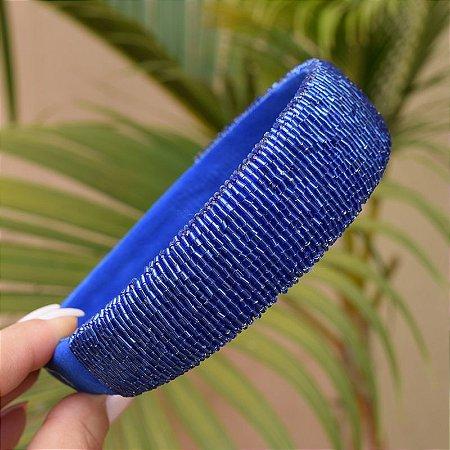 Tiara larga vidrilho azul