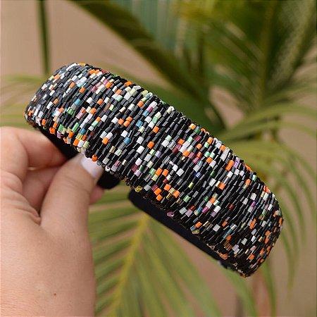 Tiara larga vidrilho colorido