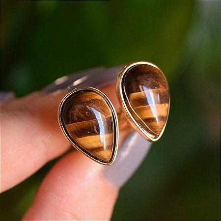 Brinco pressão gota invertida pedra natural olho de tigre ouro semijoia