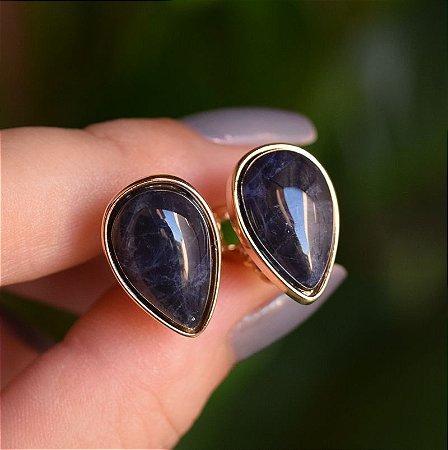 Brinco pressão gota invertida pedra natural sodalita ouro semijoia