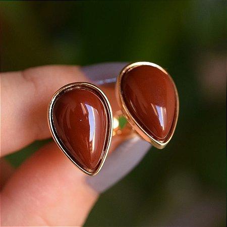 Brinco pressão gota invertida pedra natural ágata vermelha ouro semijoia