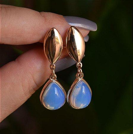 Brinco pressão gota pedra natural opalina ouro semijoia