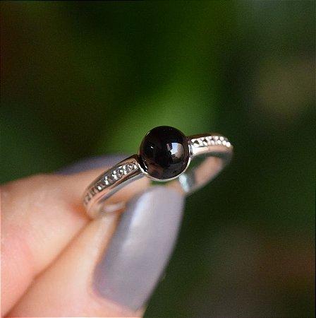Anel pedra natural ágata preta ródio semijoia