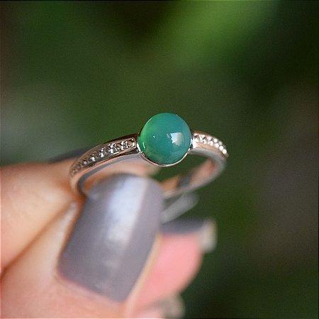 Anel pedra natural ágata verde ródio semijoia