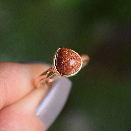 Anel pedra natural pedra do sol gota ouro semijoia