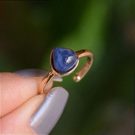 Anel pedra natural sodalita gota ouro semijoia