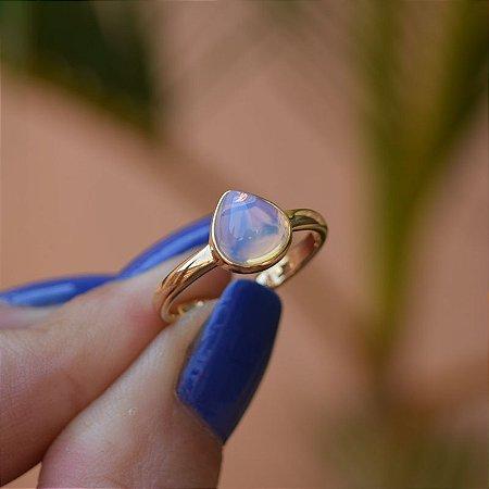 Anel pedra natural opalina gota ouro semijoia