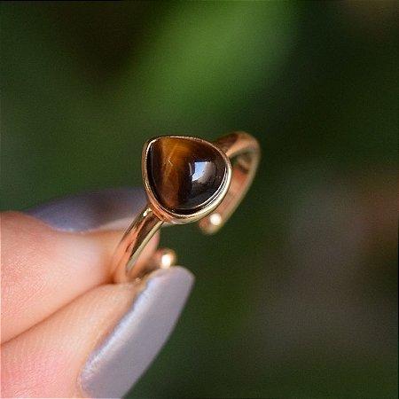 Anel pedra natural olho de tigre gota ouro semijoia