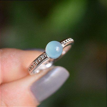 Anel pedra natural ágata azul céu ródio semijoia