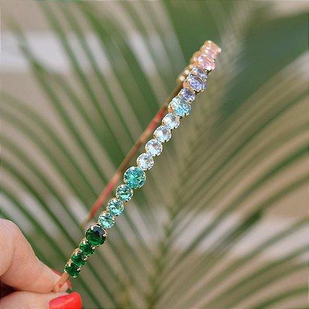 Tiara metal dourado cristais coloridos