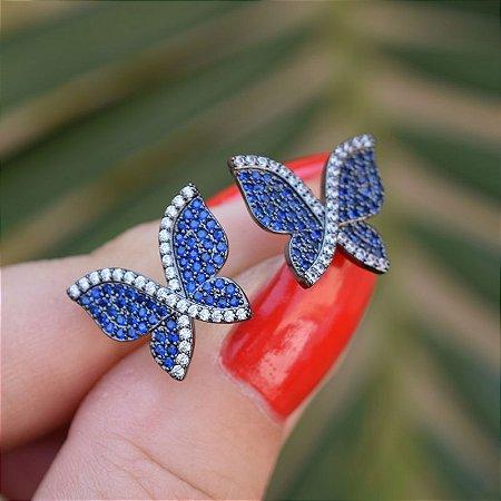 Brinco borboleta zircônia azul ródio negro semijoia 19K10039
