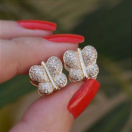 Brinco borboleta zircônia ouro semijoia 19A08025